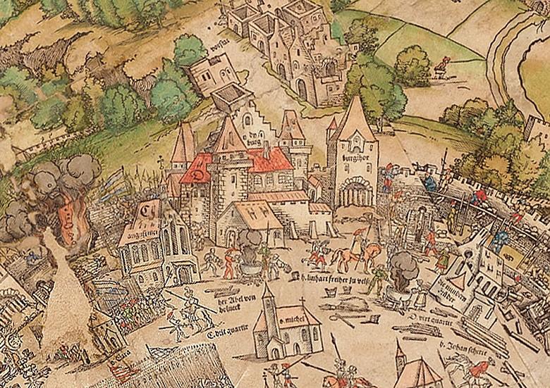 Ausschnitt aus dem Meldemann-Plan der Stadt Wien, kolorierter Holzschnitt, 1530