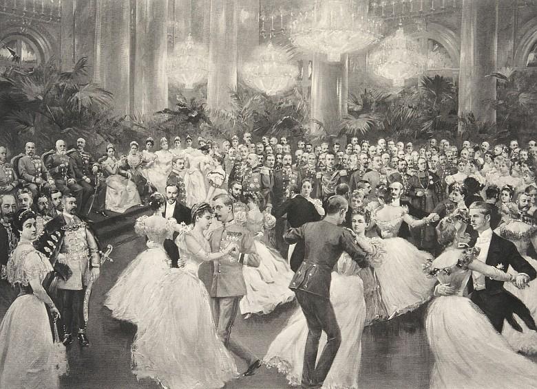 Ball bei Hof: Schluss der Quadrille, Anfang 20. Jahrhundert, Heliogravure