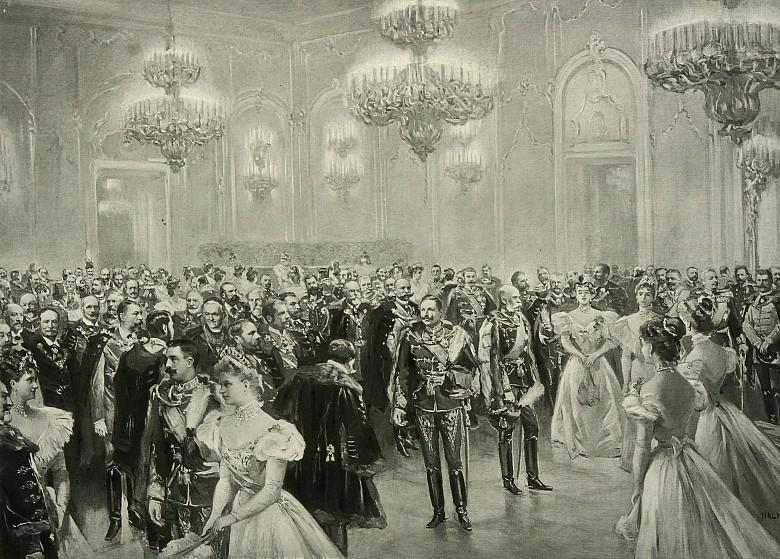 Ballszene mit Franz Joseph, Anfang 20. Jahrhundert, Lichtdruck