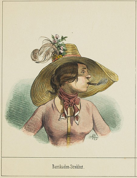 On the barricades in a straw hat, May 1848, chalk lithograph