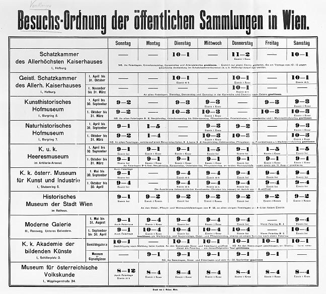 Besuchsordnung der öffentlichen Sammlungen in Wien, 1907