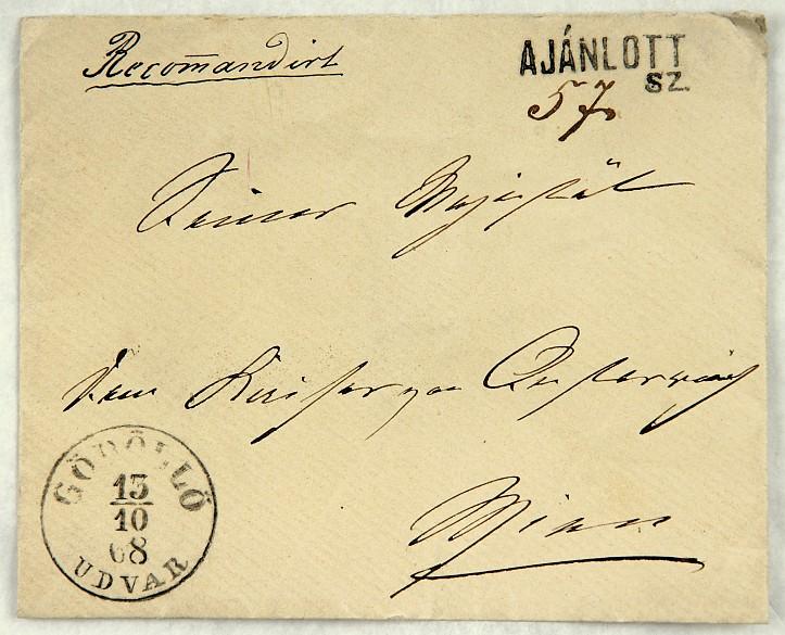 """Brief Elisabeths an Franz Joseph mit Stempel """"Gödöllö"""" vom 13. Oktober 1868"""