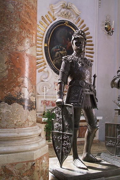 Bronze statue of King Arthur after a design by Albrecht Dürer