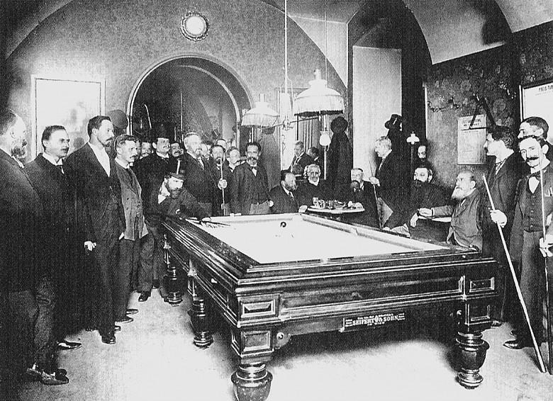Carl von Zamboni: Das Billardzimmer im Café Griensteidl, vor 1897, Kollodiumpapier auf Untersatzkarton