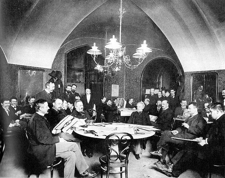 """Carl von Zamboni: Im Café Griensteidl, vor 1897, Foto für die Illustrierte """"Die vornehme Welt"""", Kollodiumpapi…"""