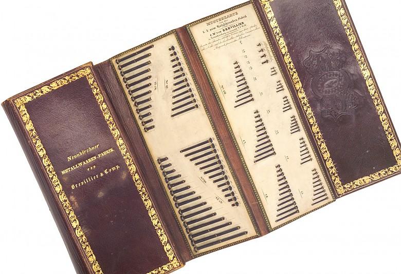 Carl Wilhelm von Brevillier: Sample card with wood screws, 1837