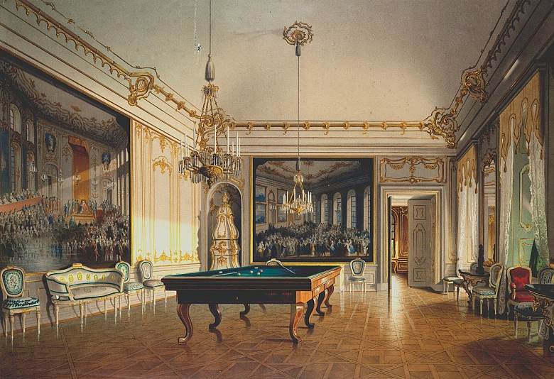 The Billiard Room at Schönbrunn Palace, c. 1855/1860, chromolithograph after a watercolour by Franz Heinrich