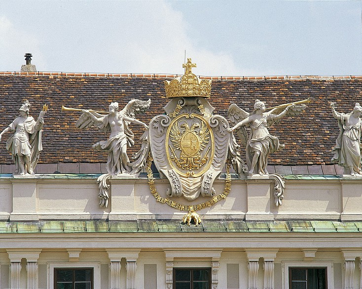 The coat of arms of Emperor Charles VI on the attic of the Imperial Chancellery Wing of the Vienna Hofburg
