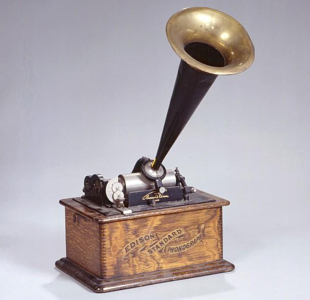 Edison Phonograph mit Wachswalze um 1900