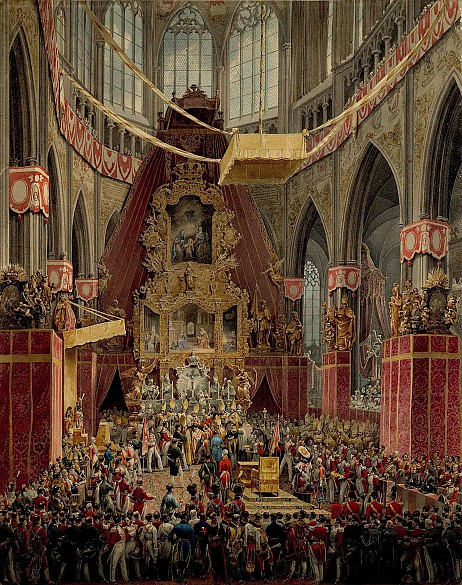 Eduard Gurk: The coronation of Emperor Ferdinand I as King of Bohemia in the cathedral at Prague in 1836, w...
