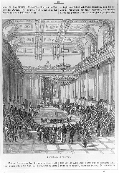Opening of the Austrian *Reichstag*, the parliament of the post-revolutionary Monarchy, presided over by Ar...