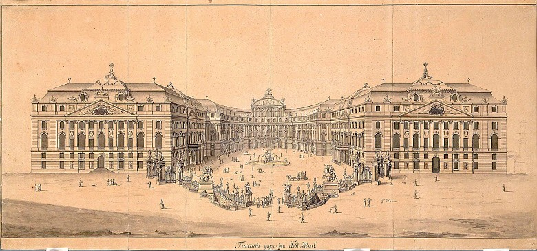 First set of designs by Joseph Emanuel Fischer von Erlach for the Hofburg, showing the façade facing the ci...