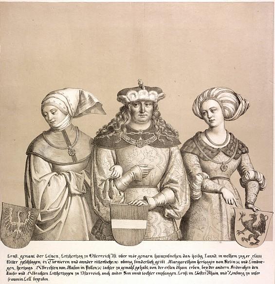 """Erzherzog Ernst I. """"der Eiserne"""" mit seinen zwei Gemahlinnen, Lithografie, 1820"""