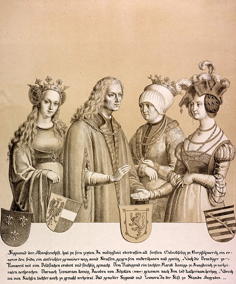 Archduke Sigismund 'the Rich in Coin' with his former fiancée and his two wives, lithograph, 1820