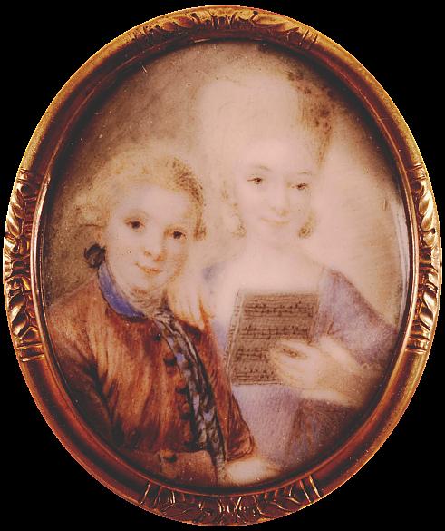 Eusebius Johann Alphen: Wolfgang and Nannerl, miniature on ivory, c. 1765