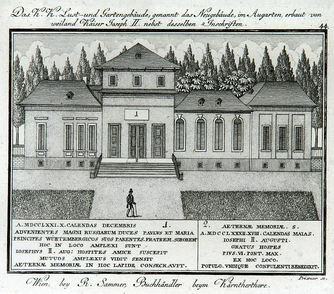 F. C. Weidmann: 'Das K. K. Lust- und Gartengebäude, genannt das Neugebäude, im Augarten', copper engraving, 1…