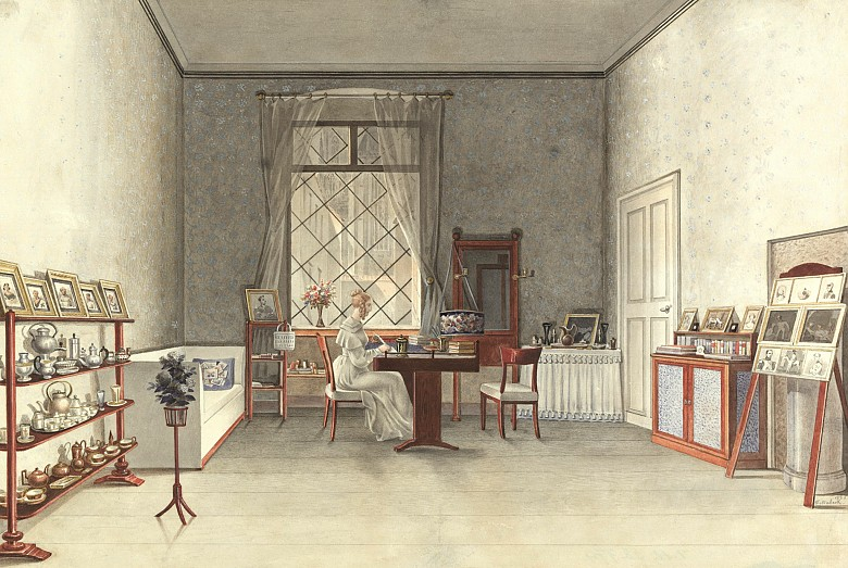 F. Maleck: Room of a young girl, furnished around 1820, watercolour