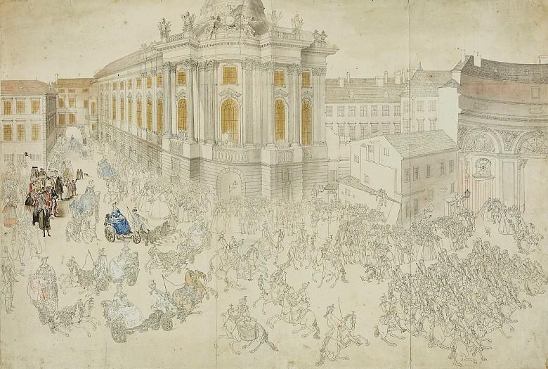Fahrt Maria Theresias von der Hofreitschule nach dem Damenkarussell durch die Straßen Wiens am 2. Jänner 1743…