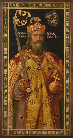 Imaginary portrait of Charlemagne, painting (copy of an original by Albrecht Dürer), c. 1600