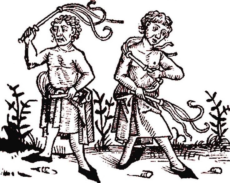 Flagellants, woodcut, 15th century