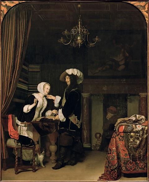 Frans van Mieris d. Ä.: Kavalier im Verkaufsladen, 1660