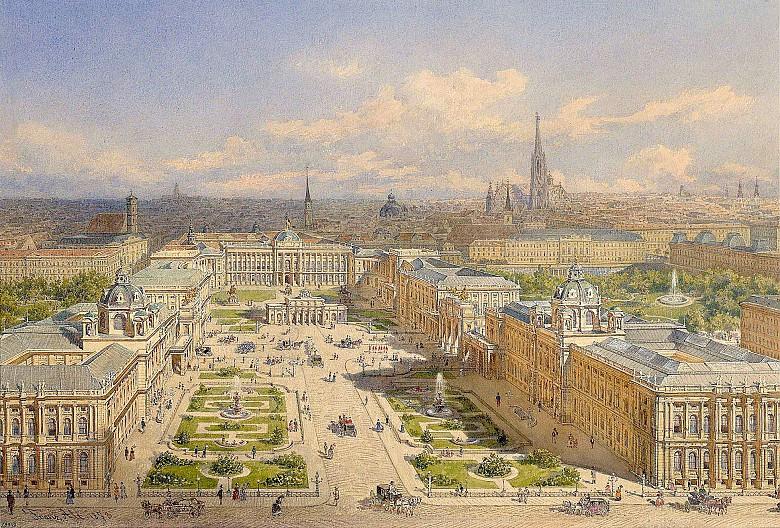 """Franz Alt: """"Der neue Burgplatz in Wien mit dem Projekt des Kaiserforums"""", 1873, Aquarell"""