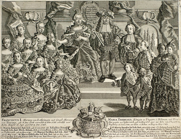 Franz Stephan and Maria Theresa with 13 of their children, copperplate engraving, 1760
