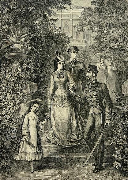 Franz Kollarz: Die kaiserliche Familie von Österreich im Park von Gödöllö,  Xylografie, 19. Jahrhundert