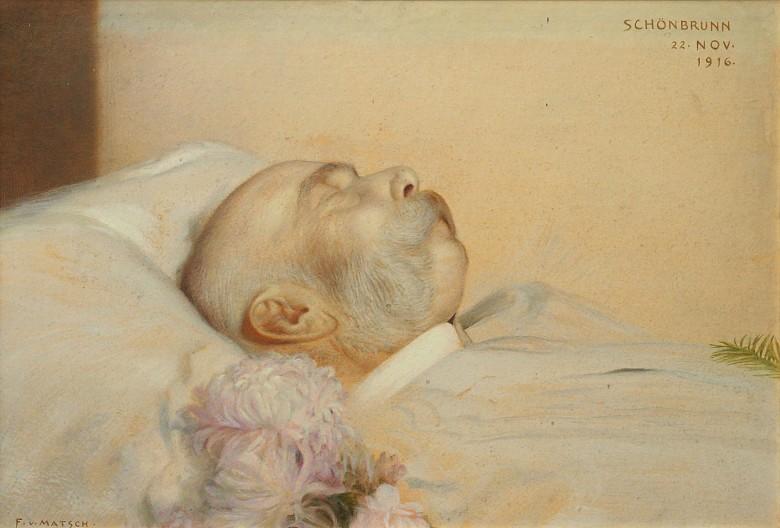 Franz v. Matsch: Kaiser Franz Joseph am Sterbebett, Ölgemälde, 1916