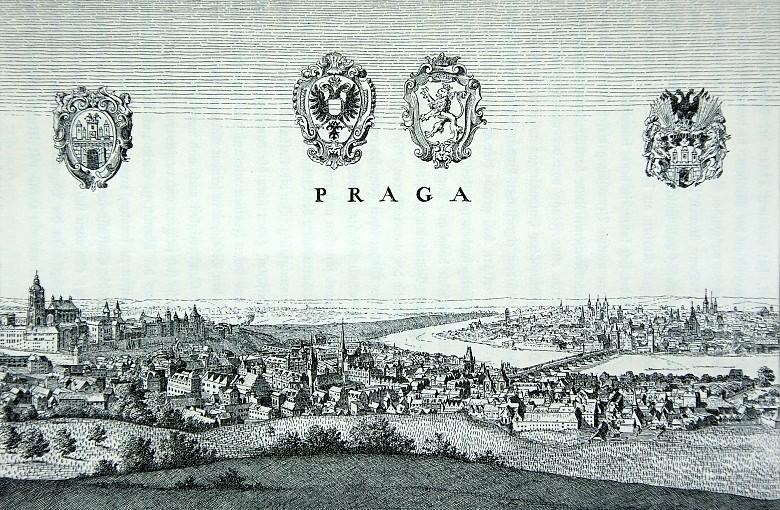 Friedrich König: Ansicht Prags nach Merians Topographie von 1650, Zeichnung, 1894