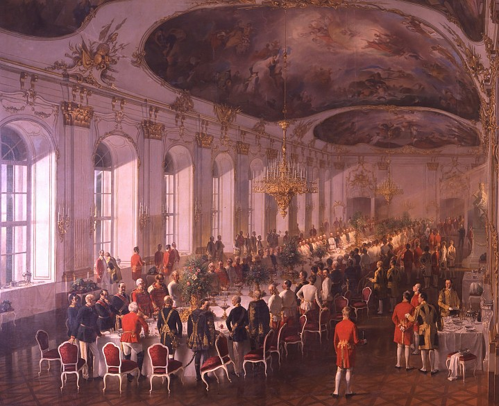 Fritz l'Allemand: Banquet in the Great Gallery, oil painting, 1861