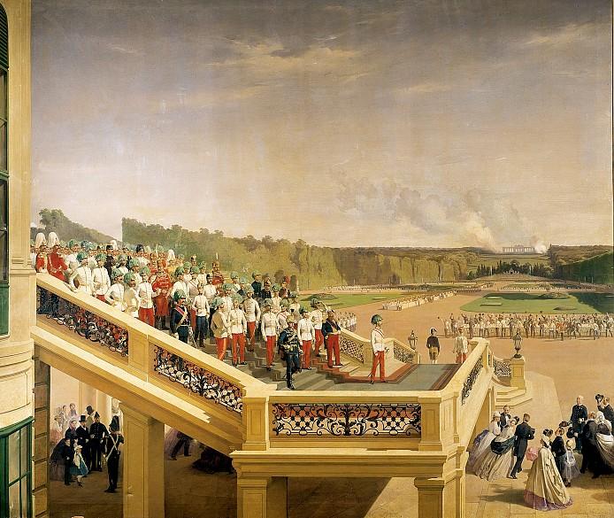 Fritz L'Allemand: Kaiser Franz Joseph auf der Gartenstiege