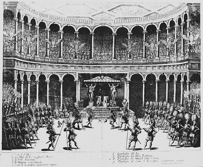 Foot-combat tournament at Court, copperplate engraving, 1652