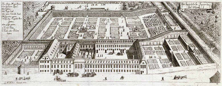 Georg Matthäus Vischer: The imperial Favorita near Vienna, copperplate engraving from: *Topographia archidu...