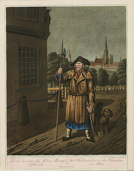 """Georg Opitz: Der Nachtwächter in den Vorstädten von Wien, Darstellung aus der Reihe """"Wiener Volkstypen"""", 1805…"""