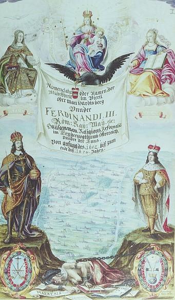 Georg Vrtlmayr: Emperor Ferdinand III as the vanquisher of Heresy, gouache, 1654