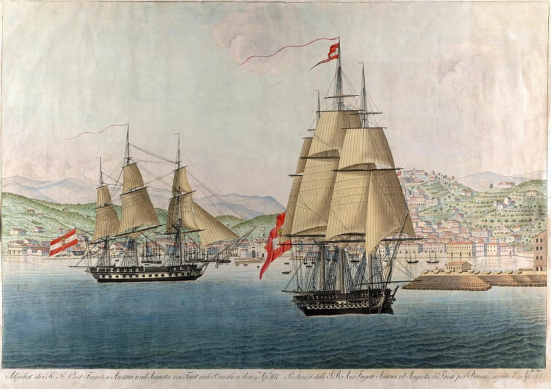 Giovanni Passi: The departure of the Austrian frigates *Austria* und *Augusta* from Trieste to Brazil on 9 ...