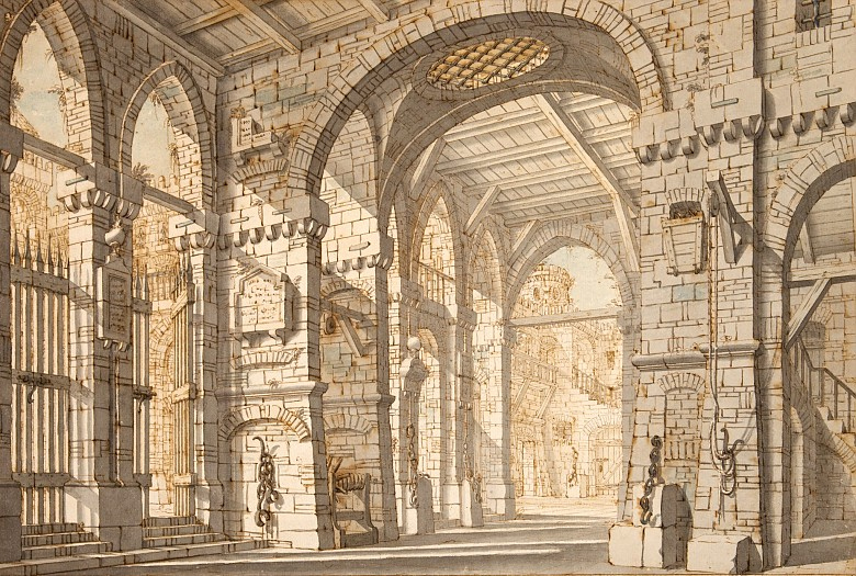 Giuseppe Galli-Bibiena: set design: Dungeon, washed pen-and