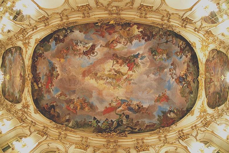 Gregorio Guglielmi, The Prosperity of the Monarchia Austriaca, the central ceiling fresco in the Great Gall...