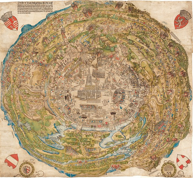 Hans Sebald Beham: Aerial panorama of the city of Vienna at the time of the First Turkish Siege in 1529, co...