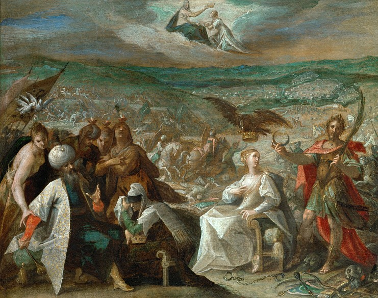 Hans von Aachen: The conquest of Stuhlweissenburg, allegory on the Turkish wars, c. 1603/04