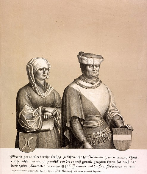 Duke Albrecht II and his wife, lithograph, 1820