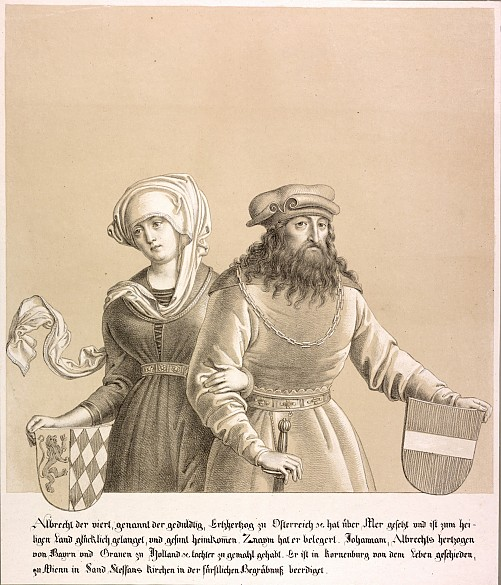 Duke Albrecht IV and his wife, lithograph, 1820
