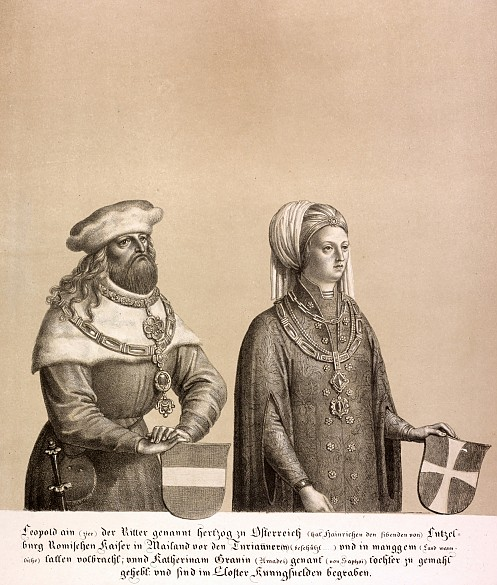Duke Leopold I and his wife, lithograph, 1820