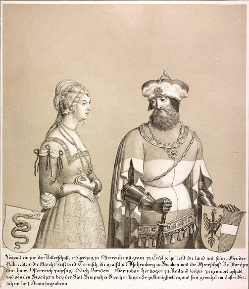 Duke Leopold III and his wife, lithograph, 1820