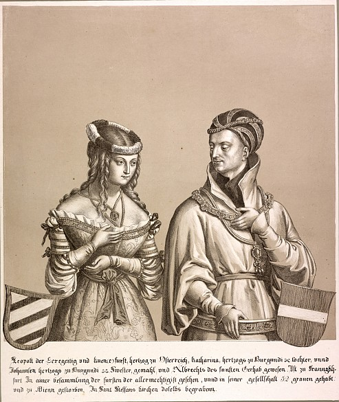 Duke Leopold IV and his wife, lithograph, 1820
