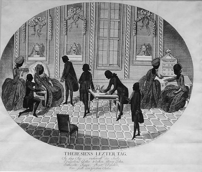 Hieronymus Löschenkohl: Theresiens letzter Tag, Kupferstich, 1780