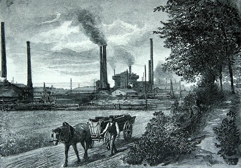 Hugo Charlemont: Part of the 'Emperor Franz Joseph' archducal ironworks at Trzyniec near Teschen, drawing, 18…