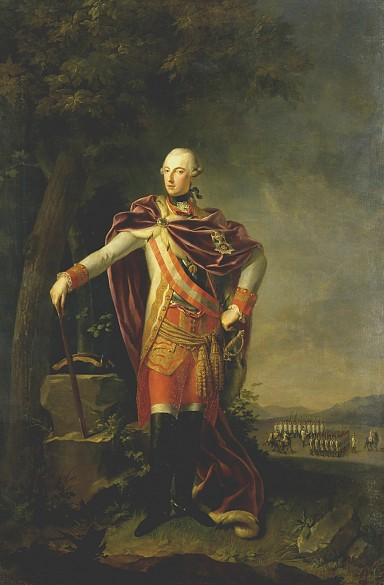 J. B. Lampi the Elder (?): Emperor Joseph II in general's pose, oil painting, 18th century