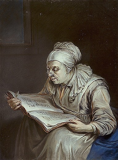 J. Eder: The learned wife, coloured print, 19th century